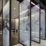 定做夹山水画玻璃 移门屏风玻璃  酒店装饰玻璃