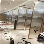 夹山水画玻璃 移门屏风玻璃 酒店隔断装饰玻璃