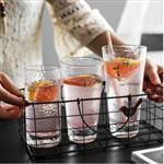 錘目紋玻璃水杯 創意錘目紋果汁杯透明冷飲杯牛奶杯