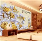 3D立体仿彩雕富贵牡丹花背景墙