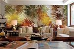 东南亚风格棕榈树叶子艺术壁画背景墙