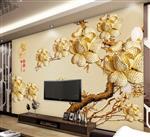 黄金镶钻山茶花浮雕电视背景墙
