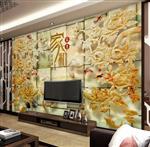 极品玉雕花开富贵客厅电视背景墙3D壁画