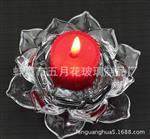 厂家精致莲花烛台 水晶玻璃透明蜡烛台 创意婚庆 摆件 供佛