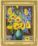 向日葵花瓶水晶玻璃马赛克工艺剪画背景墙