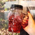 玻璃瓶把手杯噴色漸變骷髏杯