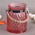 热销菠萝型喷色玻璃玻璃罐麻绳提手
