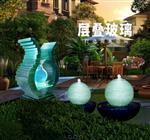 叠纹玻璃喷水雕塑