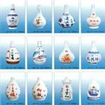 高档烤瓷白色玻璃酒瓶