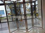 新品热销艺术玻璃屏风工艺冰花彩玻璃