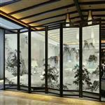 定做夹山水画玻璃 移门屏风玻璃 山水画艺术玻璃 酒店装饰玻璃