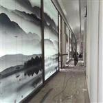 广东供应夹山水画玻璃 移门山水画玻璃 背景墙山水画玻璃