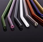 彩色弯头玻璃吸管