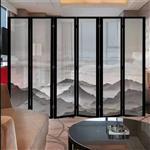 广州夹山水画玻璃  屏风山水画玻璃