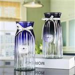 欧式简约玻璃花瓶渐变色桌面装饰瓶插花瓶
