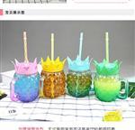 千亿国际966杯夏日饮料杯吸管杯果汁杯菠萝杯卡通杯