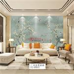 广州夹绢玻璃新中式花鸟背景墙富景玻璃有限公司