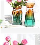 渐变色玻璃花瓶18折纸富贵竹插花瓶桌面装饰瓶