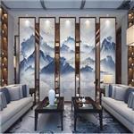 广州夹山水画玻璃 双面半透明山水画玻璃 屏风山水画玻璃