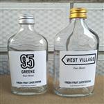 玻璃瓶新款50毫升扁酒瓶网红果汁饮料瓶铝盖玻璃瓶