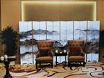 秦皇岛益家玻璃厂直销夹丝山水玻璃,新中式山水等艺术玻
