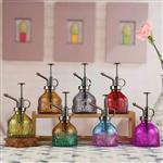 新款欧式浮雕洒水壶按压式彩色玻璃喷雾瓶