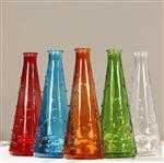 批发创意彩色透明一枝花插花瓶