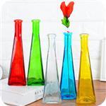 彩色玻璃一枝花花瓶