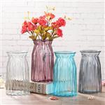 竖棱玻璃花瓶透明水培花器折纸渐变插花瓶客厅家居装饰摆件