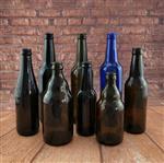 330ml茶色玻璃啤酒瓶空瓶 棕色蓝色空啤酒瓶咖啡果汁