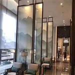 售楼部夹丝画夹绢玻璃不锈钢包边屏风夹丝玻璃屏风厂家直销