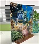 钢化玻璃3D立体图案 艺术玻璃按尺寸定制 景观墙酒店餐厅隔断工程