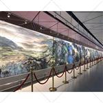 广州夹山水画玻璃夹绢画玻璃酒店背景隔断玻璃生产厂家