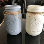 带麻绳白色梅森罐玻璃罐透明梅森罐