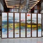 广州富景玻璃背景墙山水画夹丝玻璃供应商