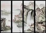 广州夹山水画玻璃 夹绢丝画玻璃 钢化夹丝玻璃