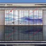 山水画玻璃酒店背景墙隔断夹绢玻璃供应厂家