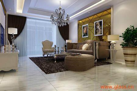 茶色玻璃电视背景墙:客厅以挑高3米8的格局