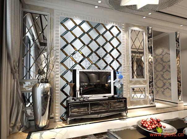 欧式餐厅玻璃形象墙