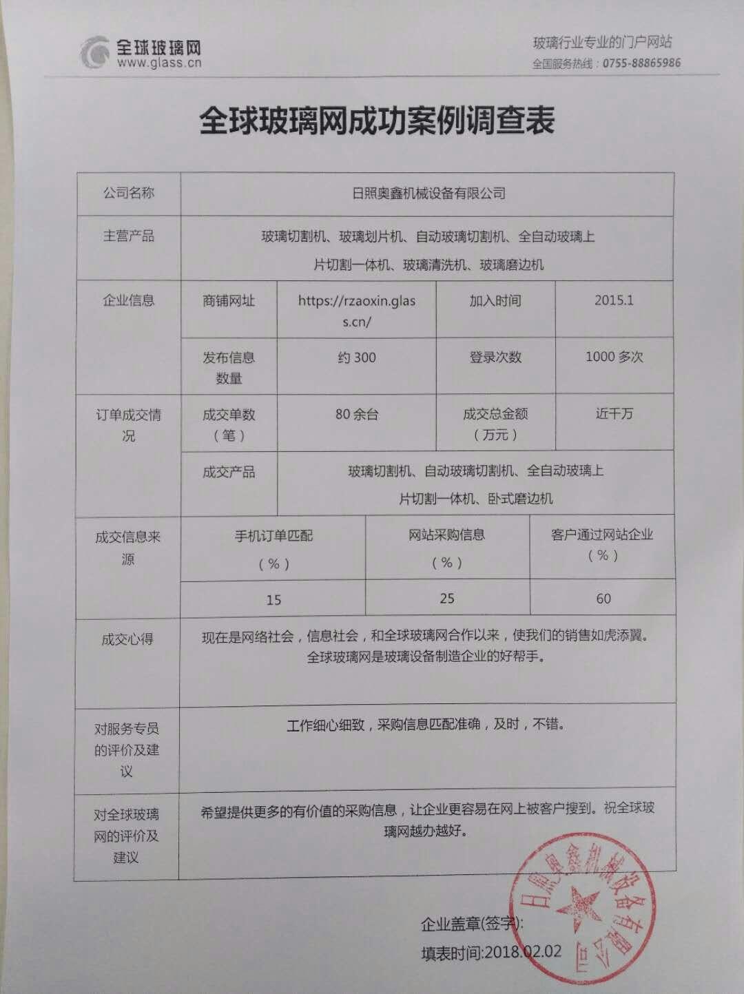 全球龙8娱乐首页网携手日照奥鑫机械突破销售金额近千万