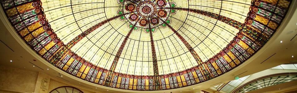 玻璃穹顶/玻璃吊顶/彩色镶嵌玻璃/欧式工艺玻璃
