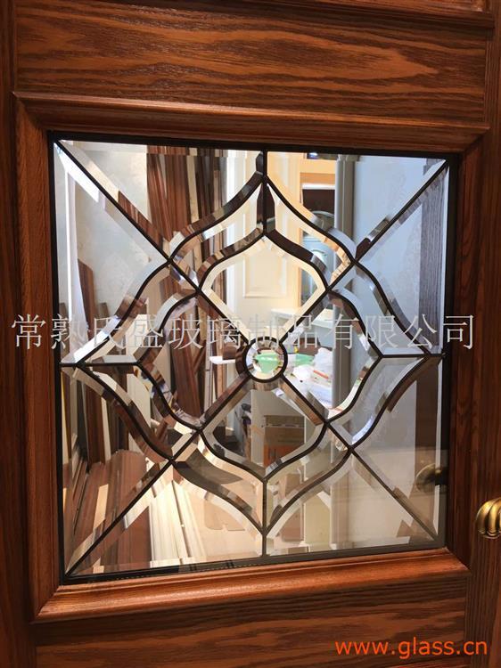 实木门用铜条黑条镶嵌玻璃20MM