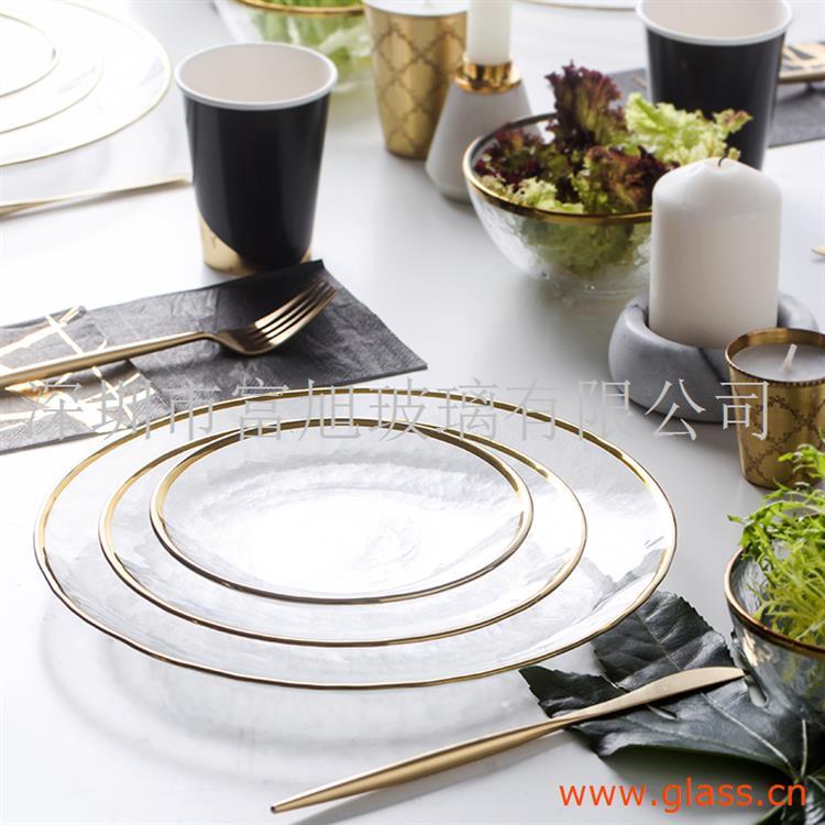玻璃餐盘 玻璃碟子,盘子 玻璃餐具套餐。