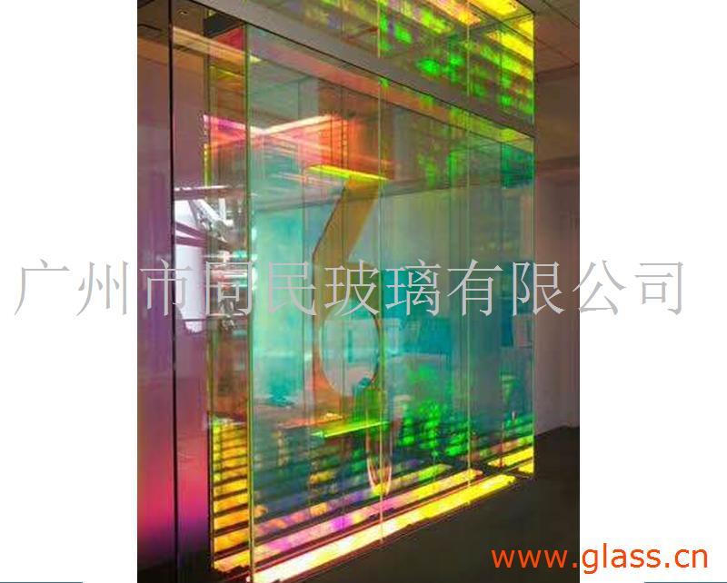 广州同民炫彩玻璃 6厘钢化炫彩玻璃 幻彩玻璃 夹胶幻彩玻
