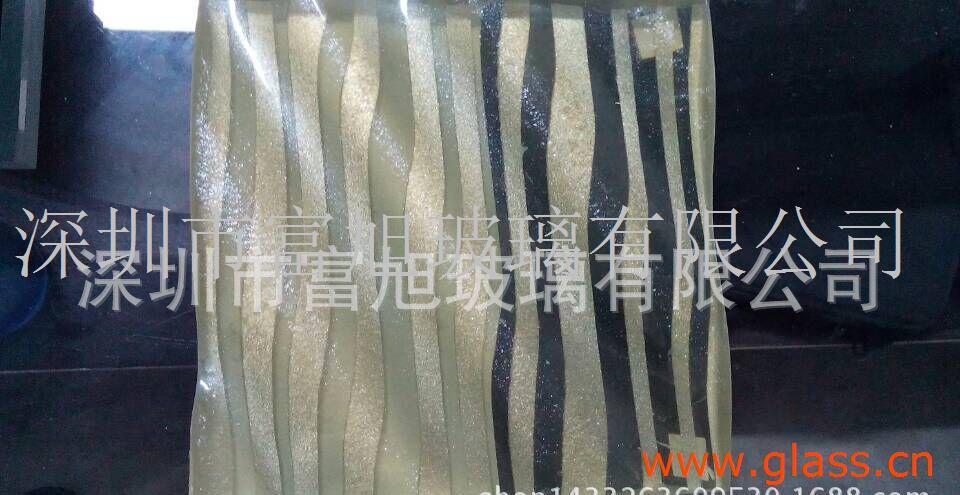 热熔钢化水波纹艺术玻璃。