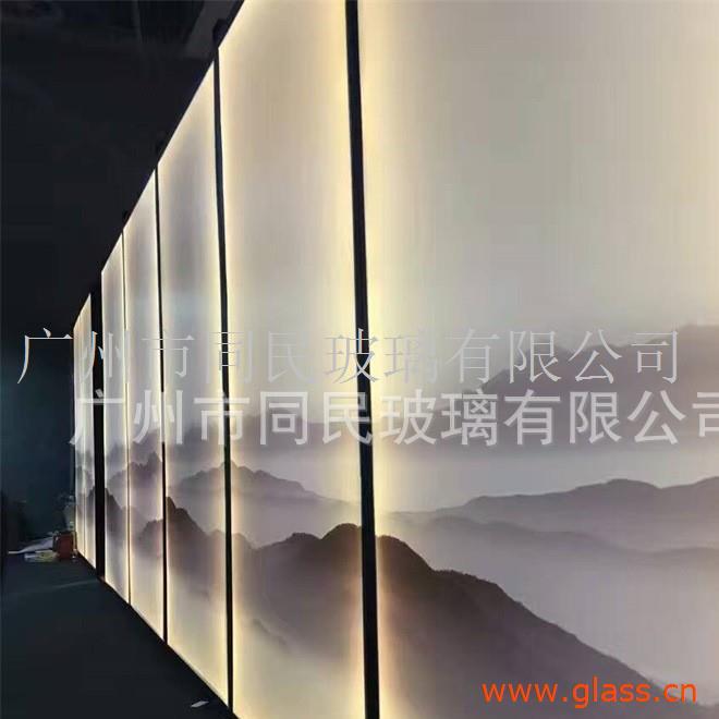广州同民磨砂渐变玻璃 办公隔断钢化玻璃