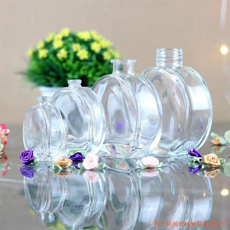香熏瓶玻璃扁圆形玻璃瓶香薰瓶可定制香薰瓶子可喷漆电镀