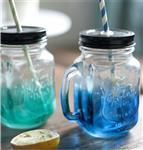 1841冷饮玻璃杯 吸管把手杯 彩色玻璃杯渐变颜色饮料杯