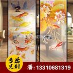 厂家定做 艺术玻璃 彩色雕刻中国风 玻璃玄关背景装饰