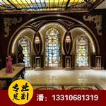 酒店玻璃彩绘玻璃彩绘玻璃天顶艺术玻璃彩色玻璃